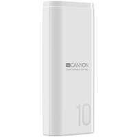 CANYON Power bank 10000mAh Li-poly battery, Input 5V/2A, Output 5V/2.1A, with Smart IC, White, USB cable length 0.25m, 120*52*22mm, 0.210Kg