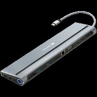 Докинг станция Canyon Multiport USB Type C with 14 ports CNS-HDS09B 100W SD TF 2*USB3.0 USB2.0 RJ45 2*HDMI VGA DP Lock