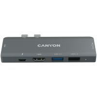 Docking Station Canyon for MacBook DS-05B 7port  Type C PD100W 2*HDMI USB3.0 USB2.0 card reader aluminum gray