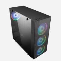 Кутия за настолен компютър Delux F900 Iron net с прозрачен страничен панел