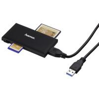 Четец за карти HAMA Multi-Card Reader USB 3.0 SD/microSD/CF/MS, 5 Gbps, Черен