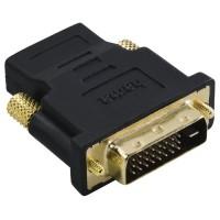 Адаптер HAMA 34035 DVI-D Dual Link мъжко - HDMI женско, Позлатени конектори, Екраниран, 3 Stars