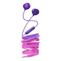 Слушалки с микрофон Philips за поставяне в ушите розов/лилав