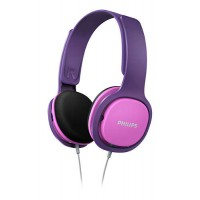 Детски слушалки Philips подсилен дизайн меки наушници ултра лека лента за глава цвят: розов/лилав