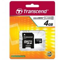 Памет Transcend 4GB microSDHC (1 adapter - Class 4)