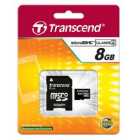 Памет Transcend 8GB microSDHC (1 adapter - Class 4)