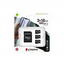 Карта памет Kingston Canvas Select Plus Multi pack 3x microSDHC 16GB Class 10 UHS-I